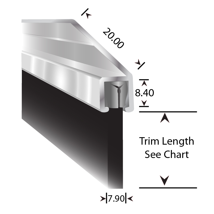 Rubber Strip Sections - 45° Carrier