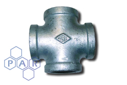 Galvanised Malleable Iron Female BSPP Equal Cross
