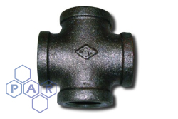 Malleable Iron Equal Cross Black BSPP