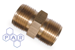 Oxyacetylene Brass Fitting - Brass Double Male Nipple 60° Coned