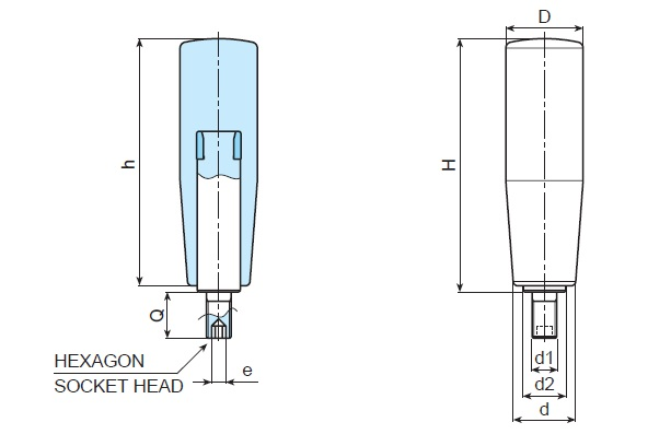 Revolving Handle - With Hexagon Socket Head Stud - Dimensional Drawing