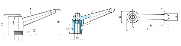 Indexed Clamping Lever - Female Thread - Dimensional Drawing