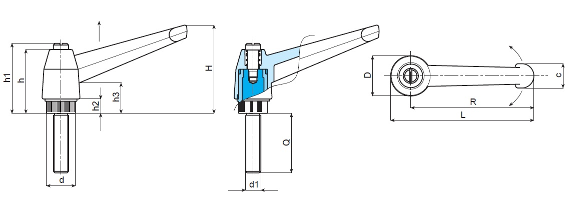 Indexed Clamping Lever - Male Thread