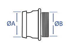 Aluminium Male Fire Coupling x Male BSP - Dimensional Drawing