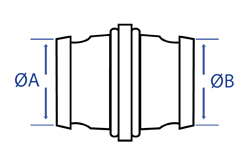 Aluminium Male Fire Coupling x Male Adaptor - Dimensional Drawing
