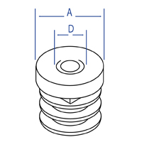 Round Ribbed Threaded Inserts - Dimensional Drawing