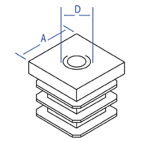 Square Ribbed Threaded Inserts - Dimensional Drawing