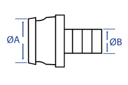 Aluminium Male Fire Coupling x Spigot - Dimensional Drawing